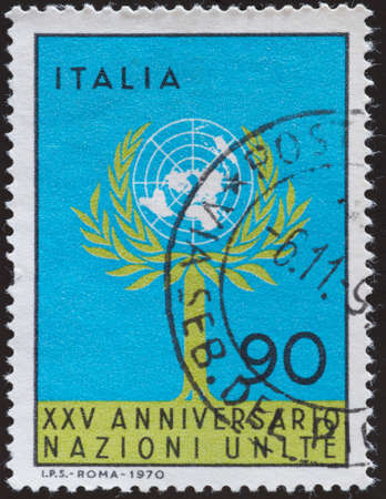 onu: postage stamp - Italy Editorial