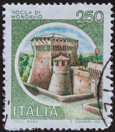 sello postal: sello - Italia Foto de archivo