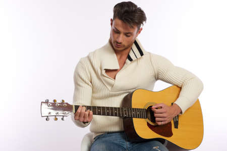 guitar player left handed Stock Photo