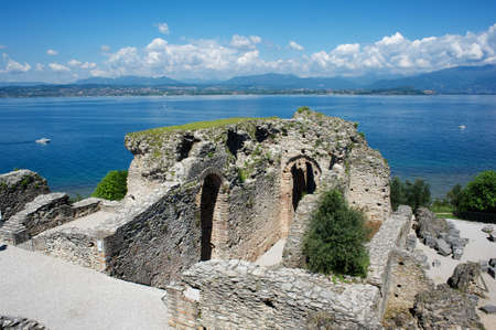 sirmione: Catullus Caves in Garda Lake,Italy Stock Photo