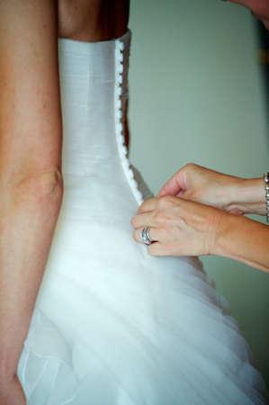 wedding dress preparation Stock Photo