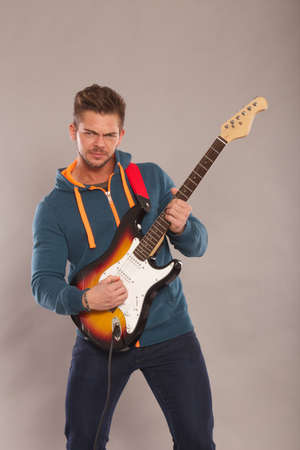 fender stratocaster: guitar player Stock Photo