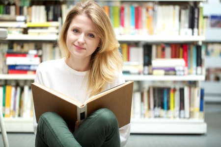 long life: young student at library Stock Photo