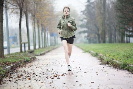 rain weather: running woman
