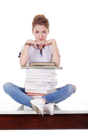 aucasian: young beautiful student Stock Photo