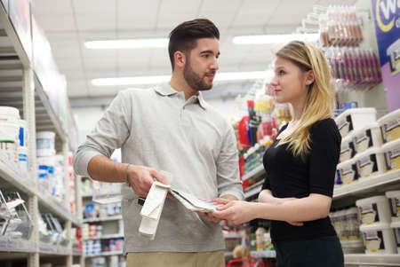 hardware: couple at hardware store Stock Photo