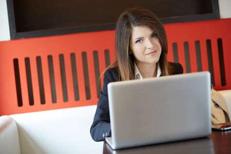 hot secretary: young businesswoman in a coffee break Stock Photo