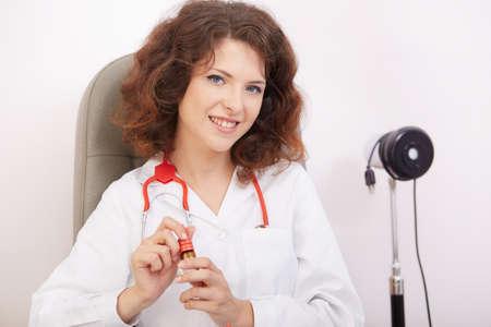 optometrist: young optometrist in her studio Stock Photo