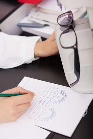 young female optometrist working
