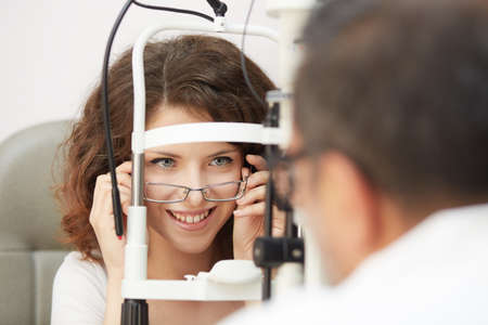 optometrist working Stock Photo