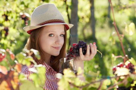 Young happy woman holding a glass of wine in the grape fields Stock Photo