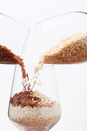 rice inside a glass of wine Stock Photo