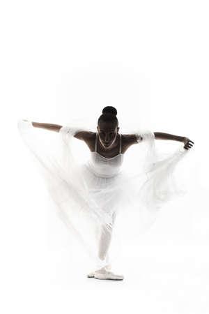 lyrical dance: ballerina silhouette Isolated on white background