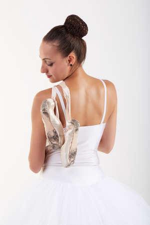 lyrical dance: ballerina on white background
