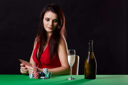red bluff: Very beautiful woman playing texas holdem poker