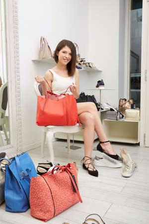 woman at shoes store