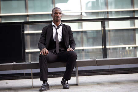 portrait of a young Confident afro american  businessman outdoor Stock Photo
