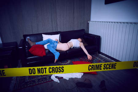 crime scene illustration background. Standard-Bild