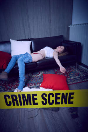 crime scene illustration background. Imagens