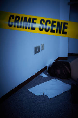 murdered woman lying on a floor - crime scene Stock Photo