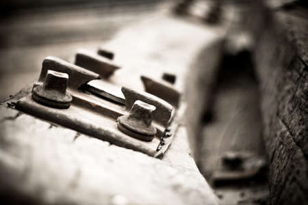 railroad tie: Old railroad tie Stock Photo