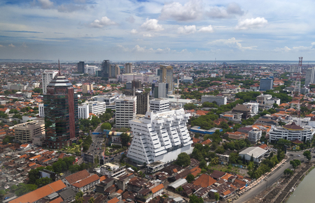 aerial view city: Aerial view of Surabaya city Stock Photo