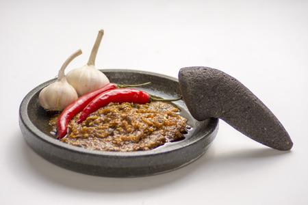 sambal: Sambal, Indonesian traditional chilli and garlic sauce Stock Photo
