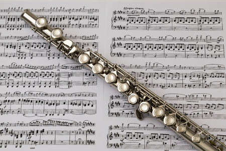 flute key: Diagonal flute on flute score music background