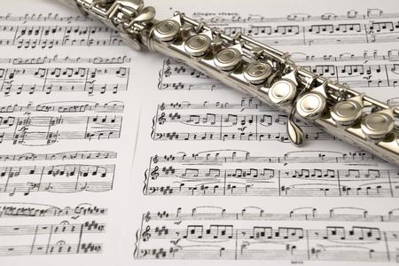 Flute à la flûte pointage fond Banque d'images