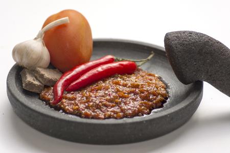 sambal: Chili shrimp paste Sambal trasi, Indonesian traditional chili, garlic, shrimp paste and tomato sauce