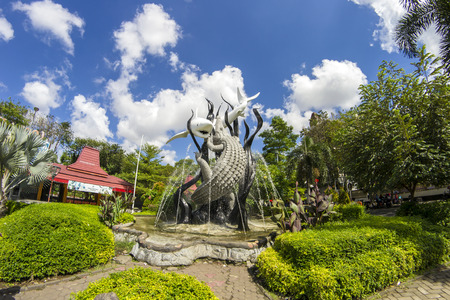 Garden with statues symbol of the city of Surabaya