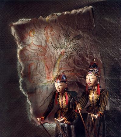 Wayang Golek, marionnettes traditionnelles de Central Java - Indonésie Banque d'images