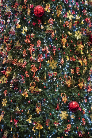 Decorated Christmas Tree Background Vertical Stock Photo