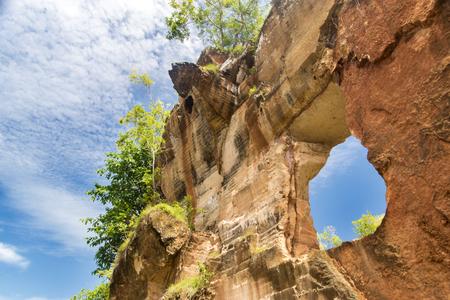 Thin limestone wall cavities in the limestone hills, Arosbaya, Madura