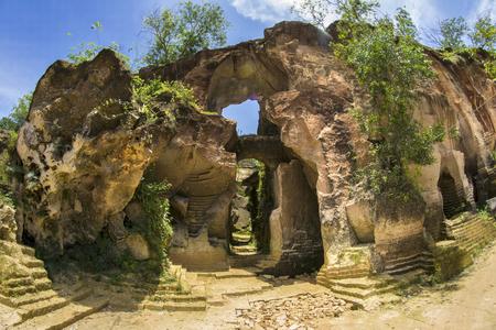 Entrance the cave in limestone hill Arosbaya, Madura Island, Indonesia