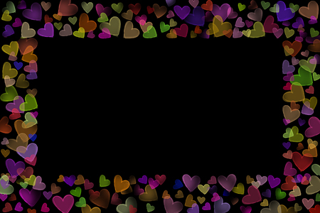 scattered in heart shaped: Colorful neon glow scattered sketch heart shaped various size line frame on upper bottom left right side valentine dark black background Stock Photo
