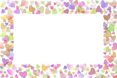 scattered in heart shaped: Colorful scattered sketch heart shaped various size line frame on upper buttom left right side valentine background Stock Photo