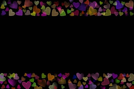 scattered in heart shaped: Colorful neon glow scattered sketch heart shaped various size line frame on upper bottom side valentine dark black background