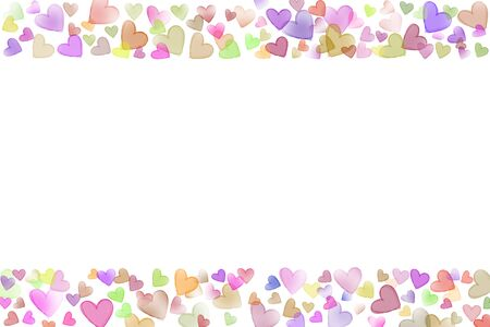 scattered in heart shaped: Colorful scattered sketch heart shaped various size line frame on upper buttom side valentine background Stock Photo
