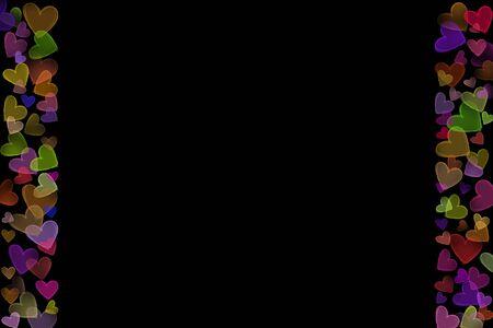 Luminosité en néon coloré Évasement dispersé en forme de coeur Cadre de ligne de différentes tailles côté gauche droit fond noir foncé Banque d'images