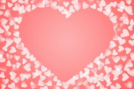 scattered in heart shaped: pink white color scattered various size sketch heart shaped center middle frame valentine background