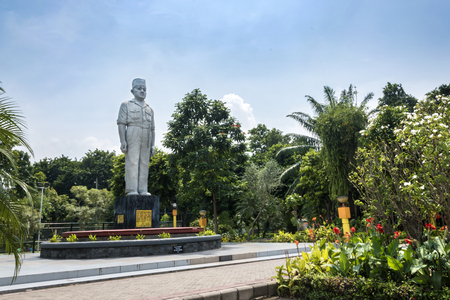 heroic monument statue of east java governor at the park in surabaya