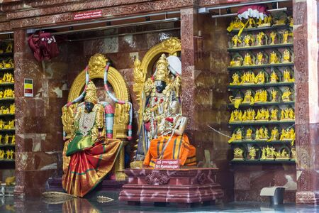 Hindu gods and goddess statues in Sri Krishnan Temple