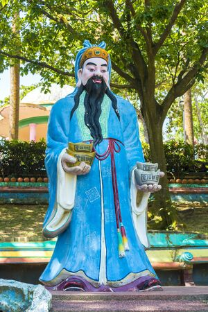 The Sanxing Fu Lu Shou so called Three Stars, who are Prosperity, Status and Longevity statue at Haw Par Villa is a theme park at Singapore.