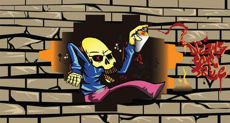 breakout: the bones of paints graffiti Illustration