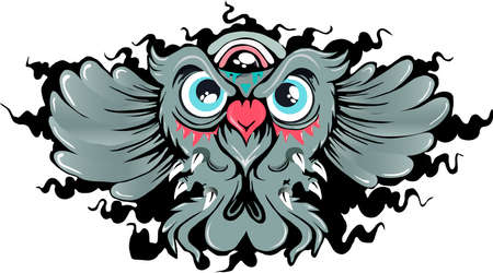 wise owl: cartoon of a flying wise owl