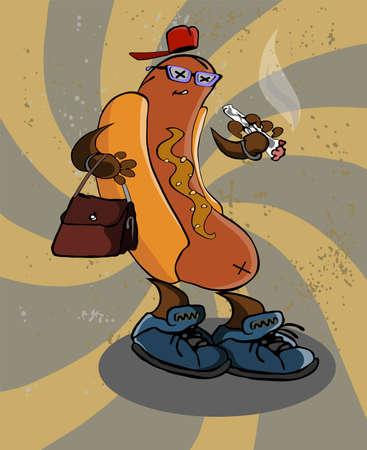 zapatos caricatura: logo mal estado del vector divertido del perrito caliente