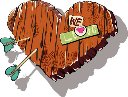 streak plate: wooden heart with the words love confession