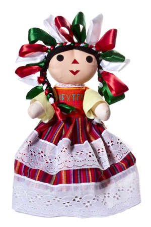 souvenir traditional: National Mexican doll on a white background