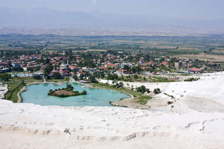 Pamukkale, a top view, with a travertine terraces